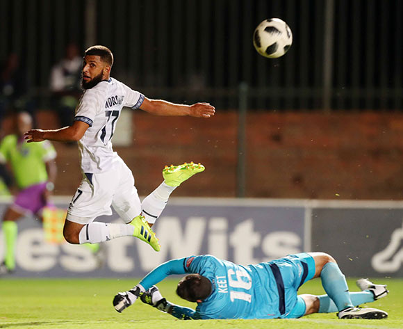Riyaad Norodien of Cape Town City challenged by Darren Keet of Bidvest Wits during the Absa Premiership 2018/19 match between Bidvest Wits and Cape Town City at Bidvest Stadium, Johannesburg on 02 March 2019 ©Samuel Shivambu/BackpagePix