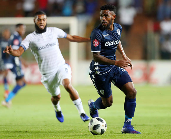 Thulani Hlatshwayo of Bidvest Wits challenged by Ebrahim Seedat of Cape Town City during the Absa Premiership 2018/19 match between Bidvest Wits and Cape Town City at Bidvest Stadium, Johannesburg on 02 March 2019 ©Samuel Shivambu/BackpagePix