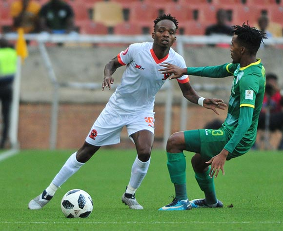Mpho Mvelase of Polokwane City and Matome Mabeba of Baroka FC during the Absa Premiership 2018/19 game between Baroka FC and Polokwane City at Peter Mokaba Stadium in Polokwane the on 3 March 2019 © Kabelo Leputu/BackpagePix
