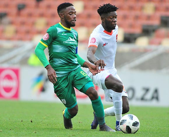Salulani Phiri of Polokwane City and Mdududzi Mdantsane of Baroka FC during the Absa Premiership 2018/19 game between Baroka FC and Polokwane City at Peter Mokaba Stadium in Polokwane the on 3 March 2019 © Kabelo Leputu/BackpagePix