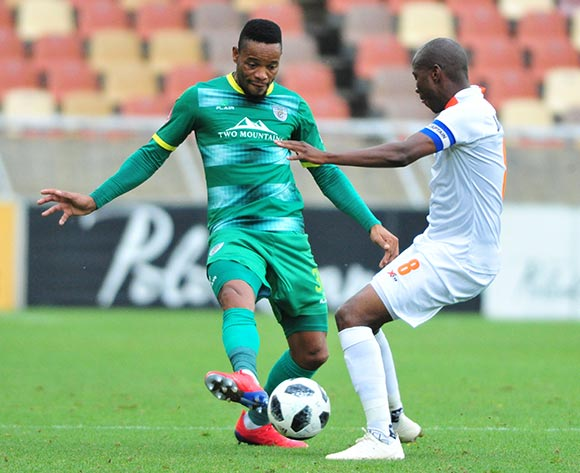 Thabiso Semenya of Baroka FC and Jabulani Maluleke of Polokwane City during the Absa Premiership 2018/19 game between Baroka FC and Polokwane City at Peter Mokaba Stadium in Polokwane the on 3 March 2019 © Kabelo Leputu/BackpagePix