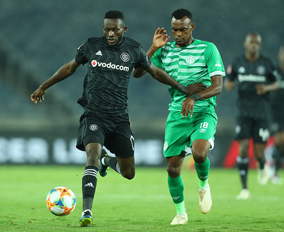 Augustine Mulenga of Orlando Pirates challenged by Given Mashikinya of Bloemfontein Celtic during the Absa Premiership 2018/19 match between Orlando Pirates and Bloemfontein Celtic at Orlando Stadium, Johannesburg on 05 March 2019 ©Samuel Shivambu/BackpagePix