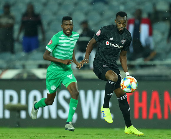 Justin Shonga of Orlando Pirates challenged by Lucky Baloyi of Bloemfontein Celtic during the Absa Premiership 2018/19 match between Orlando Pirates and Bloemfontein Celtic at Orlando Stadium, Johannesburg on 05 March 2019 ©Samuel Shivambu/BackpagePix