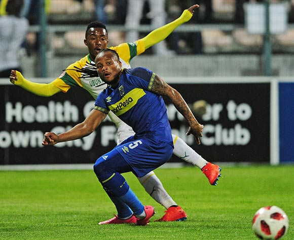 Lebohang Maboe of Mamelodi Sundowns gets his cross in despite the efforts of Edmilson Dove of Cape Town City during the Absa Premiership 2018/19 game between Cape Town City and Mamelodi Sundowns at Athlone Stadium in Cape Town on 5 March 2019 © Ryan Wilkisky/BackpagePix