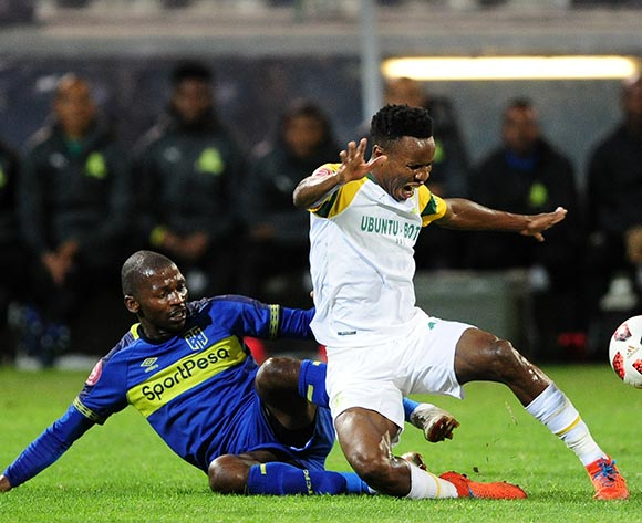 Themba Zwane of Mamelodi Sundowns is fouled by Thami Mkhize of Cape Town City during the Absa Premiership 2018/19 game between Cape Town City and Mamelodi Sundowns at Athlone Stadium in Cape Town on 5 March 2019 © Ryan Wilkisky/BackpagePix