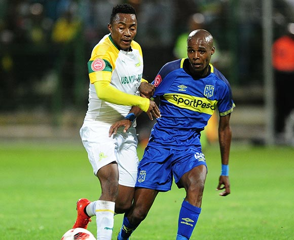 Zukile Kewuti of Cape Town City is challenged by Lebohang Maboe of Mamelodi Sundowns during the Absa Premiership 2018/19 game between Cape Town City and Mamelodi Sundowns at Athlone Stadium in Cape Town on 5 March 2019 © Ryan Wilkisky/BackpagePix