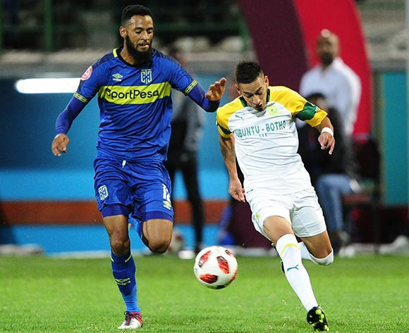 Gaston Sirino of Mamelodi Sundowns takes on Taariq Fielies of Cape Town City during the Absa Premiership 2018/19 game between Cape Town City and Mamelodi Sundowns at Athlone Stadium in Cape Town on 5 March 2019 © Ryan Wilkisky/BackpagePix