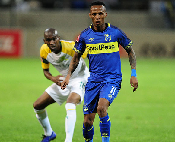 Surprise Ralani of Cape Town City is challenged by Anele Ngcongca of Mamelodi Sundowns during the Absa Premiership 2018/19 game between Cape Town City and Mamelodi Sundowns at Athlone Stadium in Cape Town on 5 March 2019 © Ryan Wilkisky/BackpagePix