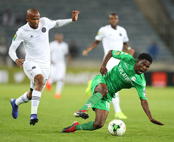 Ali Sadiki of Platinum challenged by Xola Mlambo of Orlando Pirates during the CAF Champions League match between Orlando Pirates and Platinum at Orlando Stadium, Johannesburg on 08 March 2019 ©Samuel Shivambu/BackpagePix