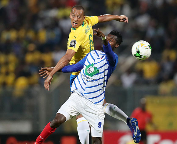 Alimi Sikiru of Lobi Stars challenged by Wayne Arendse of Mamelodi Sundowns during the 2019 TOTAL CAF Champions League match between Mamelodi Sundowns and Lobi Stars at the Lucas Moripe Stadium, Atteridgeville on the 09 March 2019 ©Muzi Ntombela/BackpagePix