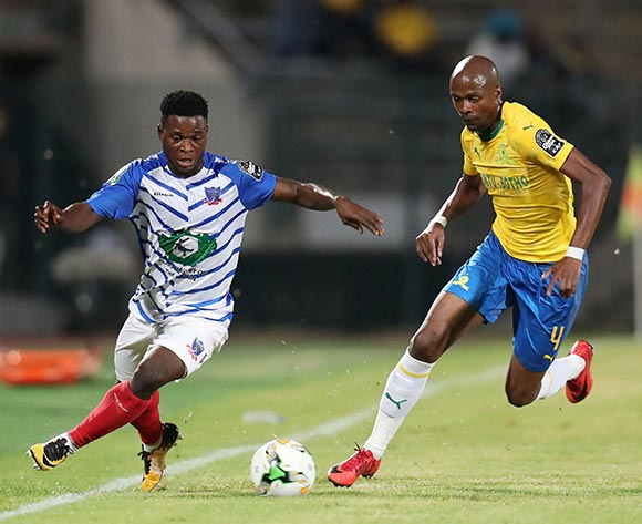 Lazarus John of Lobi Stars challenged by Tebogo Langerman of Mamelodi Sundowns during the 2019 TOTAL CAF Champions League match between Mamelodi Sundowns and Lobi Stars at the Lucas Moripe Stadium, Atteridgeville on the 09 March 2019 ©Muzi Ntombela/BackpagePix