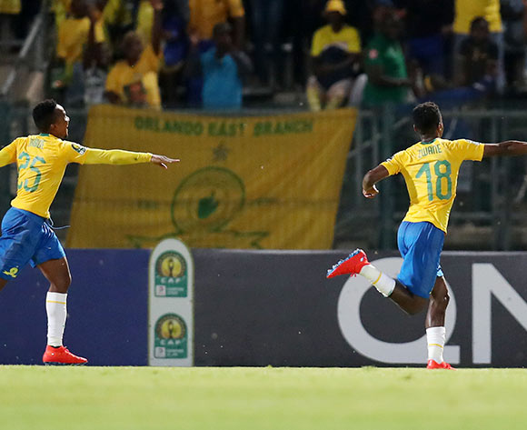 Themba Zwane (18) celebrates goal with teammate Lebohang Maboe of Mamelodi Sundowns during the 2019 TOTAL CAF Champions League match between Mamelodi Sundowns and Lobi Stars at the Lucas Moripe Stadium, Atteridgeville on the 09 March 2019 ©Muzi Ntombela/BackpagePix