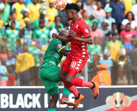 Sphiwe Mahlangu of Highlands Park challenged by Matome Kgoetyane of Baroka during the Absa Premiership 2018/19 match between Highlands Park and Baroka at Makhulong Stadium, Johannesburg on 09 March 2019 ©Samuel Shivambu/BackpagePix