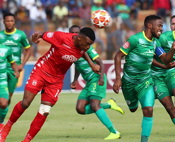 Mduduzi Mdantsane of Baroka challenged by Mothobi Mvala of Highlands Park during the Absa Premiership 2018/19 match between Highlands Park and Baroka at Makhulong Stadium, Johannesburg on 09 March 2019 ©Samuel Shivambu/BackpagePix