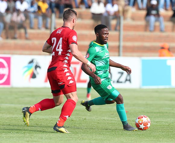 Mduduzi Mdantsane of Baroka challenged by Ryan Rae of Highlands Park during the Absa Premiership 2018/19 match between Highlands Park and Baroka at Makhulong Stadium, Johannesburg on 09 March 2019 ©Samuel Shivambu/BackpagePix
