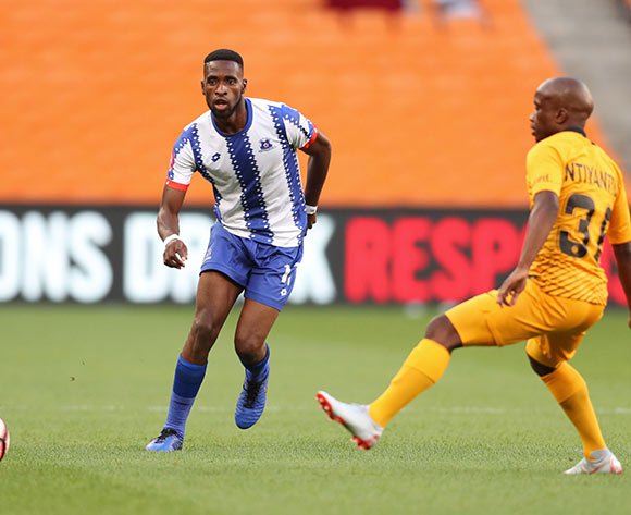 Fortune Makaringe of Maritzburg United challenged by Siphosakhe Ntiya Ntiya of Kaizer Chiefs during the Absa Premiership 2018/19 match between Kaizer Chiefs and Maritzburg United at FNB Stadium, Johannesburg on 09 March 2019 ©Samuel Shivambu/BackpagePix