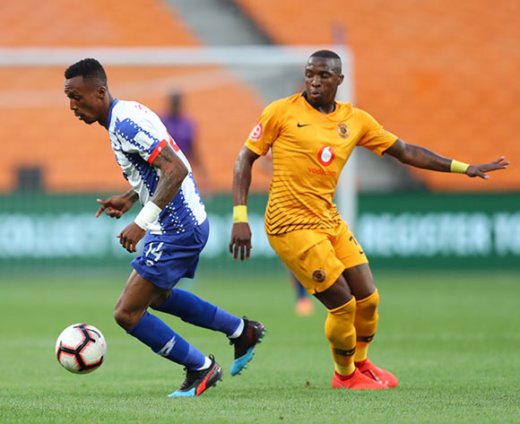 Yannick Zakri of Maritzburg United tackled by George Maluleka of Kaizer Chiefs during the Absa Premiership 2018/19 match between Kaizer Chiefs and Maritzburg United at FNB Stadium, Johannesburg on 09 March 2019 ©Samuel Shivambu/BackpagePix