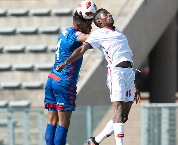 Michelle Katsvairo of Free State Stars challenged by Clayton Daniels of Supersport United during the Absa Premiership 2018/19 match between Supersport United and Free State Stars at Lucas Moripe Stadium, Pretoria on 10 March 2019 ©Samuel Shivambu/BackpagePix