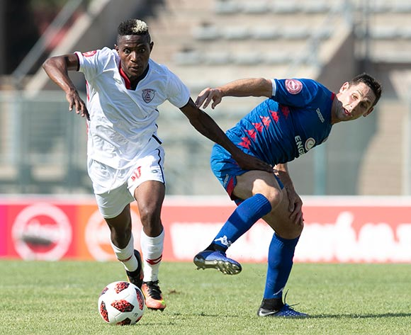 Michelle Katsvairo of Free State Stars challenged by Dean Furman of Supersport United during the Absa Premiership 2018/19 match between Supersport United and Free State Stars at Lucas Moripe Stadium, Pretoria on 10 March 2019 ©Samuel Shivambu/BackpagePix