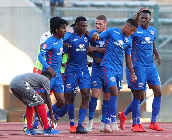 Mxolisi Macuphu of Supersport United celebrates goal with teammates during the Absa Premiership 2018/19 match between Supersport United and Free State Stars at Lucas Moripe Stadium, Pretoria on 10 March 2019 ©Samuel Shivambu/BackpagePix