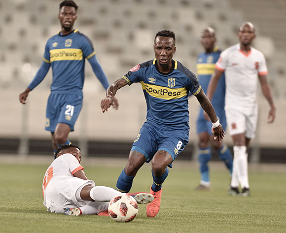 Teko Modise of Cape Town City skips past Tlolane Puleng of Polokwane City FC during the Absa Premiership 2018/19 game between Cape Town City and Polokwane City at Cape Town Stadium on 15 March 2019 © Luigi Bennett/BackpagePix