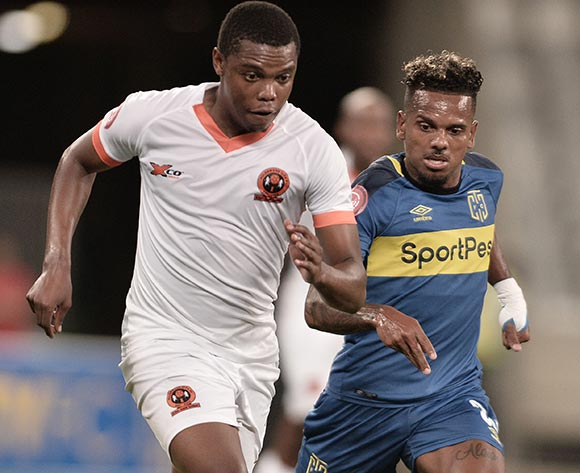 Nicolas Motloung of Polokwane City FC challenged by Kermit Erasmus of Cape Town City during the Absa Premiership 2018/19 game between Cape Town City and Polokwane City at Cape Town Stadium on 15 March 2019 © Luigi Bennett/BackpagePix