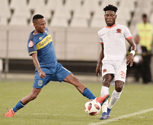 Surprise Ralani of Cape Town City and Salulani Phiri of Polokwane City FC during the Absa Premiership 2018/19 game between Cape Town City and Polokwane City at Cape Town Stadium on 15 March 2019 © Luigi Bennett/BackpagePix