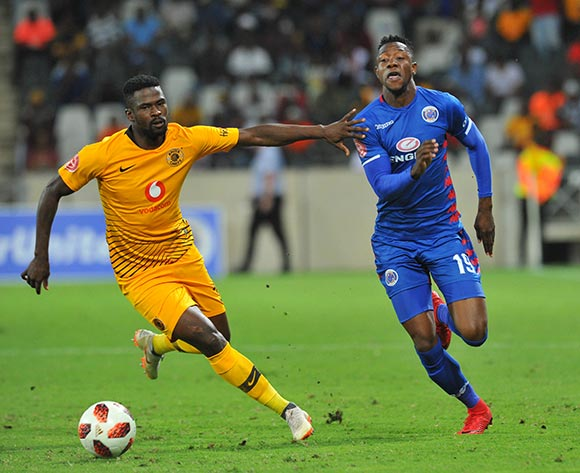 Evans Rusike of Supersport United challenged by Kgotso Moleko of Kaizer Chiefs during the Absa Premiership match between Supersport United and Kaizer Chiefs on the 15 March 2019 at  Mbombela StadiumPic Sydney Mahlangu/ BackpagePix