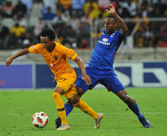 Nkosingiphile Ngcobo of Kaizer Chiefs challenged by Mxolisi Macuphu of Supersport United during the Absa Premiership match between Supersport United and Kaizer Chiefs on the 15 March 2019 at  Mbombela StadiumPic Sydney Mahlangu/ BackpagePix