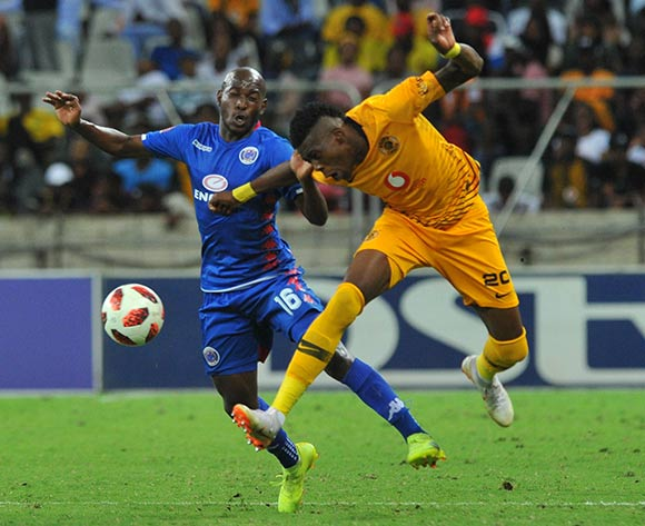Aubrey Modiba of Supersport United challenges Teenage Hadebe of Kaizer Chiefs during the Absa Premiership match between Supersport United and Kaizer Chiefs on the 15 March 2019 at  Mbombela StadiumPic Sydney Mahlangu/ BackpagePix