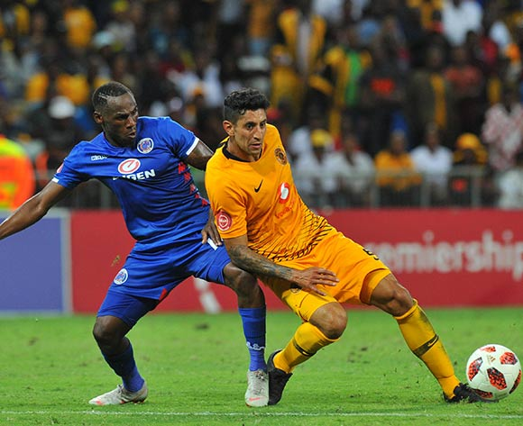 Onismor Bhasera of Supersport United challenges Leonardo Castro of Kaizer Chiefs during the Absa Premiership match between Supersport United and Kaizer Chiefs on the 15 March 2019 at  Mbombela StadiumPic Sydney Mahlangu/ BackpagePix
