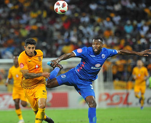 Bongani Khumalo of Supersport United challenges Leonardo Castro of Kaizer Chiefs  during the Absa Premiership match between Supersport United and Kaizer Chiefs on the 15 March 2019 at  Mbombela StadiumPic Sydney Mahlangu/ BackpagePix