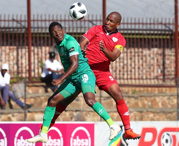 Talent Chiwapiwa of AmaZulu challenged by Paulus Masehe of Free State Stars during the Absa Premiership 2018/19 match between Free State Stars and AmaZulu at Goble Park Stadium, Bethlehem on 16 March 2019 ©Samuel Shivambu/BackpagePix