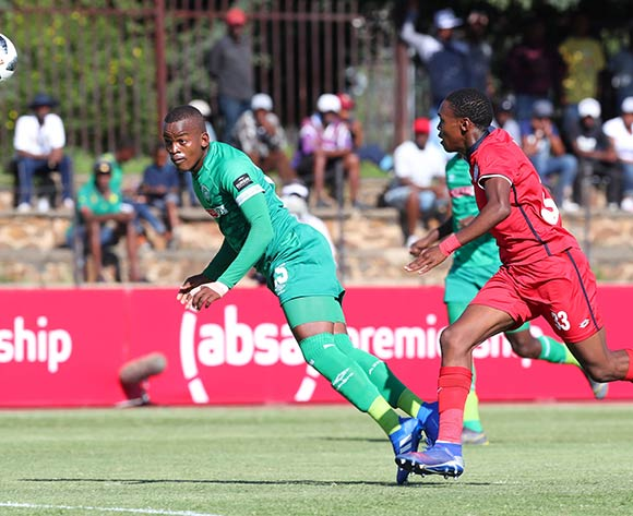 Phumlani Gumede of AmaZulu challenged by Mpho Khabane of Free State Stars during the Absa Premiership 2018/19 match between Free State Stars and AmaZulu at Goble Park Stadium, Bethlehem on 16 March 2019 ©Samuel Shivambu/BackpagePix