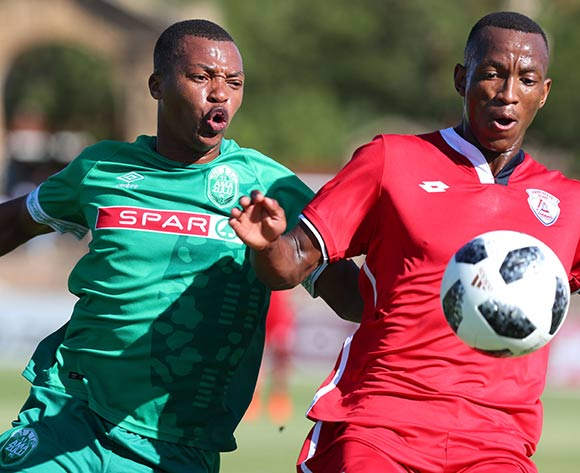 Sifiso Mbhele of Free State Stars challenged by Thembela Sikhakhane of AmaZulu during the Absa Premiership 2018/19 match between Free State Stars and AmaZulu at Goble Park Stadium, Bethlehem on 16 March 2019 ©Samuel Shivambu/BackpagePix