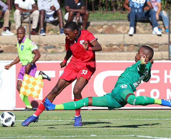 Mpho Khabane of Free State Stars tackled by Phumlani Gumede of AmaZulu during the Absa Premiership 2018/19 match between Free State Stars and AmaZulu at Goble Park Stadium, Bethlehem on 16 March 2019 ©Samuel Shivambu/BackpagePix