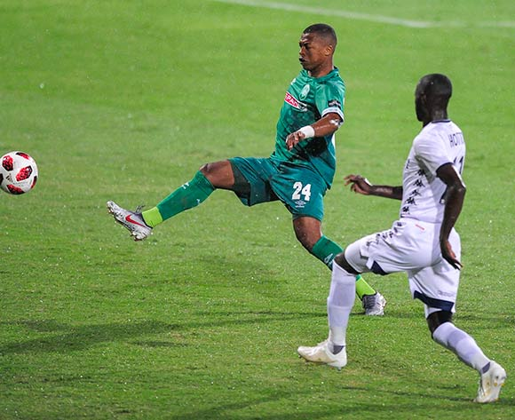 Deon Hotto of Bidvest Wits challenges Thembela Sikhakhane of AmaZulu FC during the Absa Premiership 2018/19 game between AmaZulu FC and Bidvest Wits FC at King Zwelithini Stadium in Durban the on 09 March 2019 © Gerhard Duraan/BackpagePix