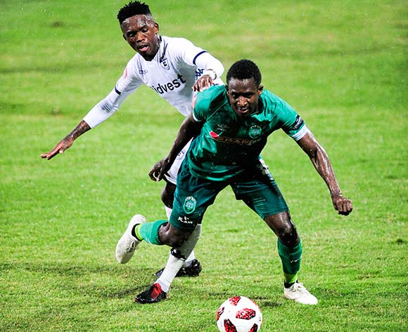 Thabang Monare of Bidvest Wits challenges Talent Chawapiwa of AmaZulu FC during the Absa Premiership 2018/19 game between AmaZulu FC and Bidvest Wits FC at King Zwelithini Stadium in Durban the on 09 March 2019 © Gerhard Duraan/BackpagePix