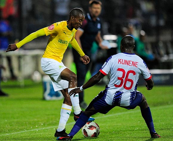 Mxolisi Kunene of Maritzburg United challenges Thapelo Morena of Mamelodi Sundowns FC during the Absa Premiership 2018/19 match between Maritzburg United and Mamelodi Sundowns at the Harry Gwala Stadium, KwaZulu Natal on 12 September 2019 ©Gerhard Duraan/BackpagePix
