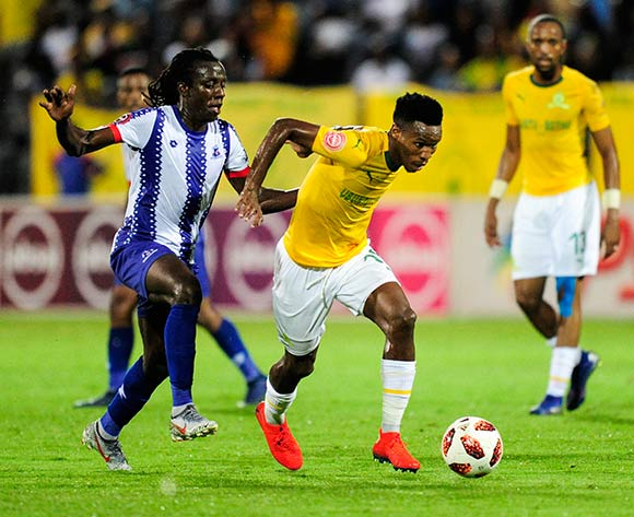 Themba Zwane of Mamelodi Sundowns FC is challenged Allan Katerega of Maritzburg United by during the Absa Premiership 2018/19 match between Maritzburg United and Mamelodi Sundowns at the Harry Gwala Stadium, KwaZulu Natal on 12 September 2019 ©Gerhard Duraan/BackpagePix