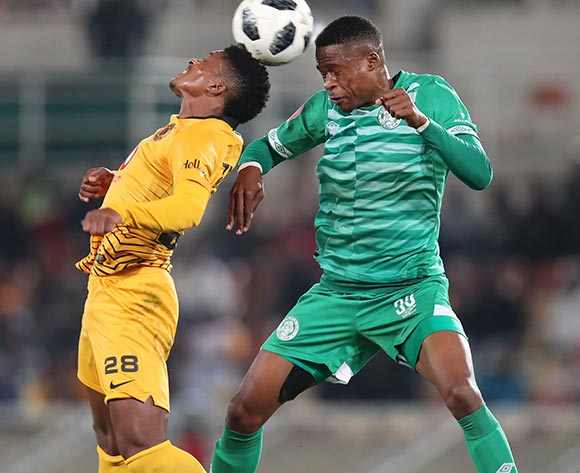 Dumisani Zuma of Kaizer Chiefs challenged by Mzwanele Mahashe of Bloemfontein Celtic during the Absa Premiership 2018/19 match between Bloemfontein Celtic and Kaizer Chiefs at the Peter Mokaba Stadium, Polokwane on the 27 April 2019 ©Muzi Ntombela/BackpagePix