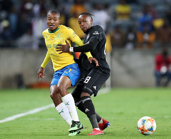 Thapelo Morena of Mamelodi Sundowns challenged by Mthokozisi Dube of Orlando Pirates during the Absa Premiership 2018/19 match between Orlando Pirates and Mamelodi Sundowns at the Orlando Stadium, Soweto on the 01 April 2019 ©Muzi Ntombela/BackpagePix