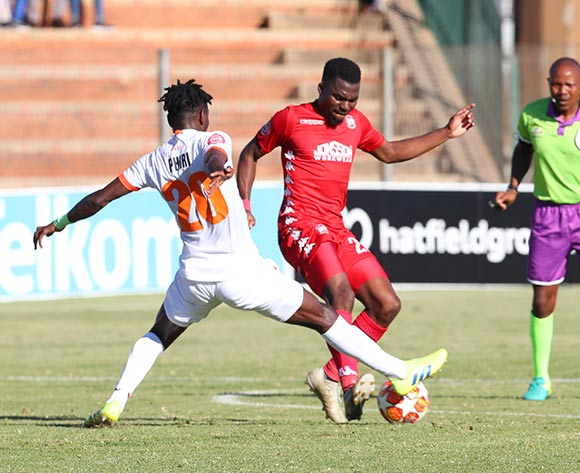 Salulani Phiri of Polokwane City challenged by Enocent Mkhabele of Highlands Park during the Absa Premiership 2018/19 match between Highlands Park and Polokwane City at Makhulong Stadium, Johannesburg on 27 April 2019 ©Samuel Shivambu/BackpagePix
