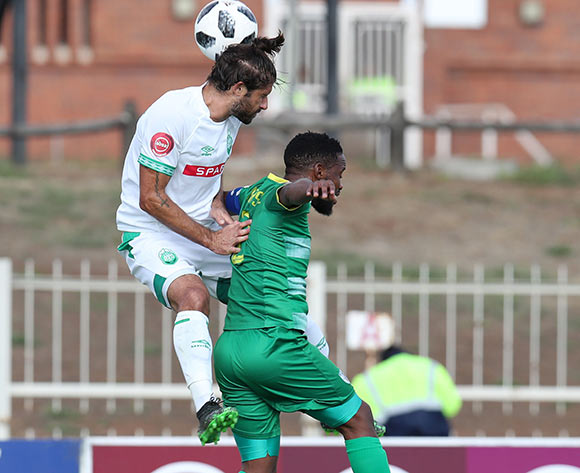 Mduduzi Mdantsane of Baroka challenged by Marc Van Heerden of AmaZulu during the Absa Premiership 2018/19 match between Baroka and AmaZulu at the Old Peter Mokaba Stadium, Polokwane on the 28 April 2019 ©Muzi Ntombela/BackpagePix