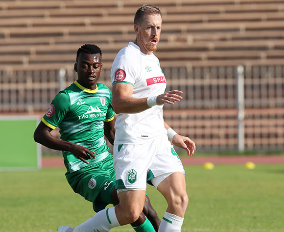 Michael Morton of AmaZulu challenged by Tshediso Patjie of Baroka during the Absa Premiership 2018/19 match between Baroka and AmaZulu at the Old Peter Mokaba Stadium, Polokwane on the 28 April 2019 ©Muzi Ntombela/BackpagePix
