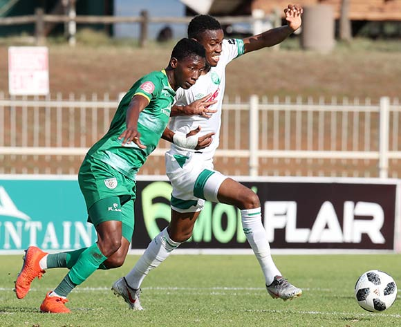 Ovidy Karuru of AmaZulu challenged by Bonginkosi Makume of Baroka during the Absa Premiership 2018/19 match between Baroka and AmaZulu at the Old Peter Mokaba Stadium, Polokwane on the 28 April 2019 ©Muzi Ntombela/BackpagePix