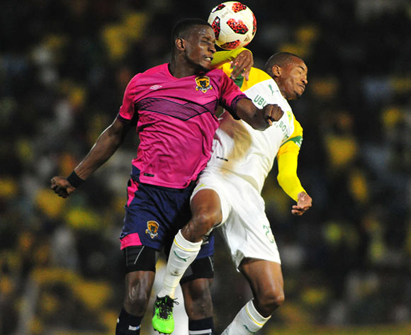 Chris Katjiukua of Black Leopards and Thapelo Morena of Mamelodi Sundowns during the Absa Premiership 2018/19 game between Black Leopards and Mamelodi Sundowns at Thohoyandou Stadium in Limpopo the on 30 April 2019 © Kabelo Leputu/BackpagePix