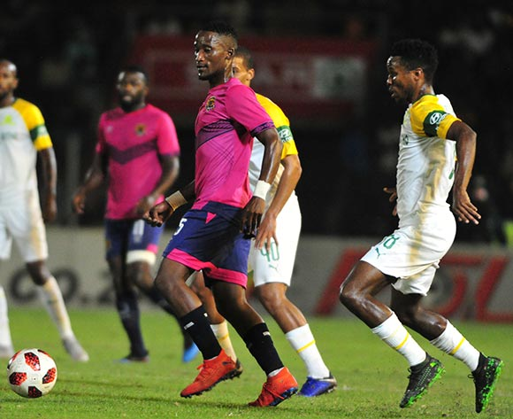 Tshwarelo Bereng of Black Leopards and Themba Zwane of Mamelodi Sundowns during the Absa Premiership 2018/19 game between Black Leopards and Mamelodi Sundowns at Thohoyandou Stadium in Limpopo the on 30 April 2019 © Kabelo Leputu/BackpagePix