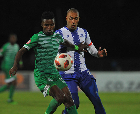 Menzi Masuku of Bloemfontein Celtic is challenged by Miguel Timm of Maritzburg United during the Absa Premiership match between Maritzburg United and Bloemfontein Celtic on the 05 April 2019 at Harry Gwala Stadium  Pic Sydney Mahlangu/ BackpagePix