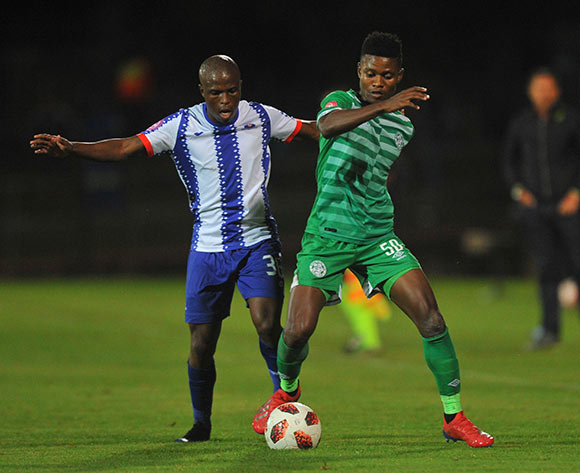 Menzi Masuku of Bloemfontein Celtic challenged by Mxolisi Kunene of Maritzburg United during the Absa Premiership match between Maritzburg United and Bloemfontein Celtic on the 05 April 2019 at Harry Gwala Stadium  Pic Sydney Mahlangu/ BackpagePix